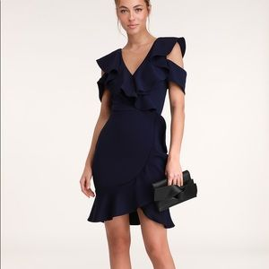 Lulu's Elliana Navy Blue Ruffled Bodycon Dress